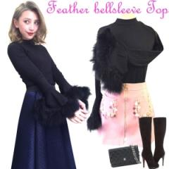 SALE Feather bellsleeve TOP(BLK)
