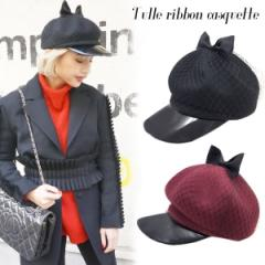 SALE【60%OFF】Tulle ribbon casquette(BLK/RED)