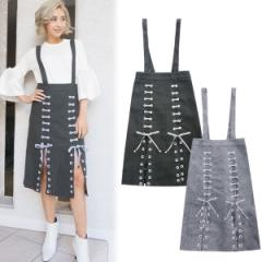 SALE【60%OFF】Slit lace-up skirt(D・GRY/GRY)