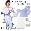 La pateau Asymmetry ruffle top(BLU)