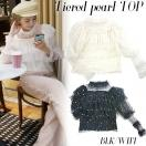 SALE BLKのみ Tiered pearl top(BLK/WHT)