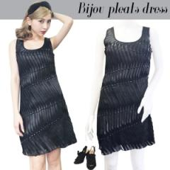 NYimport Bijou pleats dress(BLK)