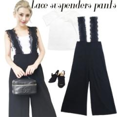 Lace suspenders pants(BLK)