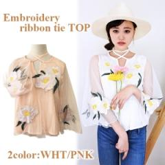 SALE【70%OFF】Embroidery ribbon tie top(WHT/PNK)