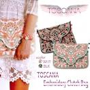 SALE TOSCANA Embroidery clutch bag(BEG/BLK)