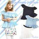 SALE Asymmetry frill TOP(BLK/WHT/BLU)