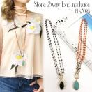 LAimport Stone 2way long necklace(BLK/ORG)