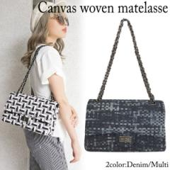 Canvas woven matelasse(Denim/Multi)