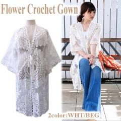 SALE Flower crochet gown(WHT/BEG)