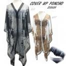 SALE Cover up poncho(BLK/WHT)