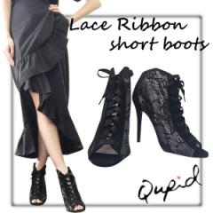 NYimport Qupid Lace Ribbon short boots(BLK)
