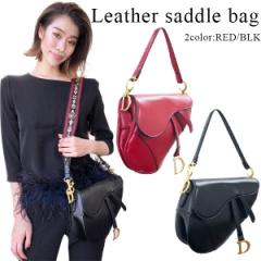 【再入荷】Leather saddle bag(RED/BLK)