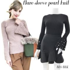 Flaresleeve pearl knit(BEG/BLK)