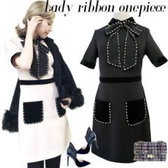 Lady ribbon  onepiece(BLK/BEG)