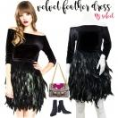 NYimport  Velvet feather dress