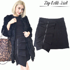 SALE Zip frill skirt(BLK)