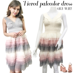 Tiered palecolor dress(GRY/WHT)