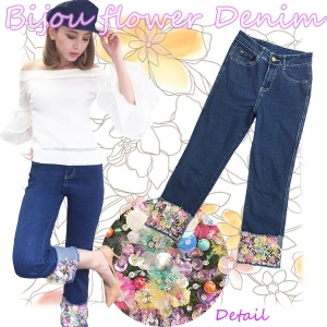 【Re Back in stock!!】Bijou flower  denim(IDG)
