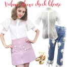 Volume sleeve check blouse(WHT)