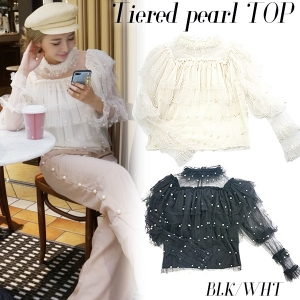 Tiered pearl top(BLK/WHT)