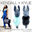 KENDALL + KYLIE NORMAN DENIM DOG BAG CHARM(MNT/BLK)