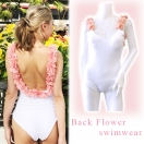 Back flower swimwear(WHT)