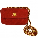 CHANEL Mini matelasse chain suede shoulder bag(RED)