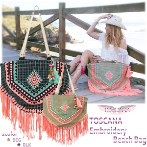 SALE【70%OFF】TOSCANA Embroidery bag(BEG/BLK)