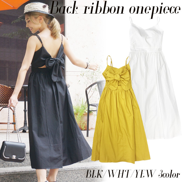 SALE【60%OFF】Back ribbon onepiece(BLK/WHT/YEW)
