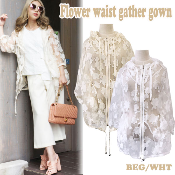 Flower waist gather gown(WHT/BEG)