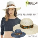 SALE CHRISTY'S Jute feather hat(NVY/BEG)
