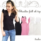 Shoulder frill rib TOP(WHT/PNK/BLK)