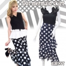 Dot mermaid skirt(BLK/NVY)