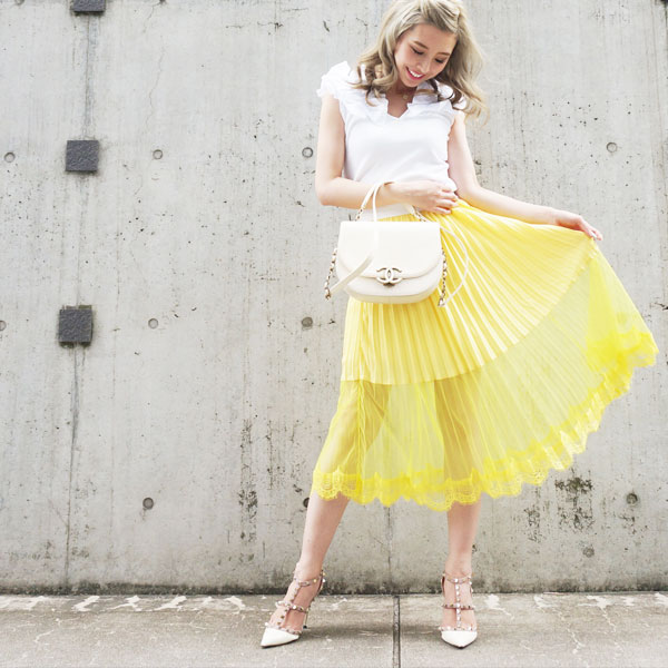 Pleats midi skirt(YEL)
