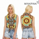 LAST1☆SALE☆【70%OFF】MINK PINK Ashbury crop the shirt