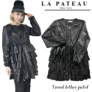 SALE La pateau Tiered leather jacket(BLK)