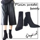LAST1☆SALE☆【70%OFF】NYimport Qupid Plain suede boots(BLK)