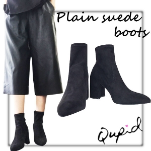 SALE NYimport Qupid Plain suede boots(BLK)