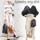Asymmetry wrap skirt(BEG/GRN/BLK)