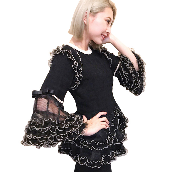 SALE【60%OFF】Tiered frill knit(BLK)