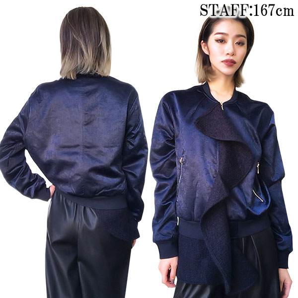 SALE N12H Ruffled Lace Bomber(NVY)