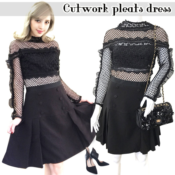 SALE Cutwork pleats dress