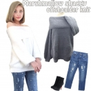 SALE Marshmallow shaggy offshoulder knit(WHT/GRY)