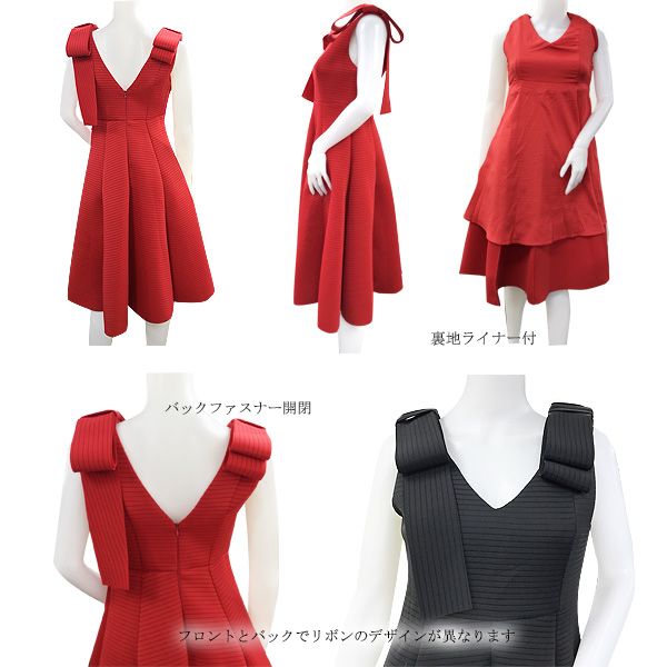 ※再入荷 Neoprene ribbon dress(BLK/RED)
