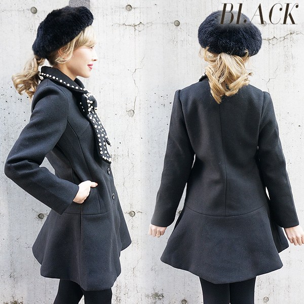 Aline ribbon coat(BLK/PNK)