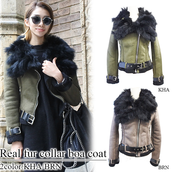 SALE Real fur collar boa coat(BRN/KHA)
