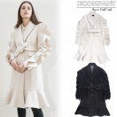 SALE JICOMPANY Sleeve frill coat(IVO/BLK)