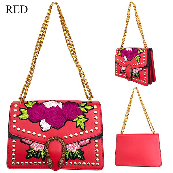 SALE Embroidery chain BAG(RED/BEG/BLK)