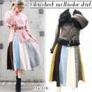 SALE Glencheck multicolor skirt(PNK/YEW)