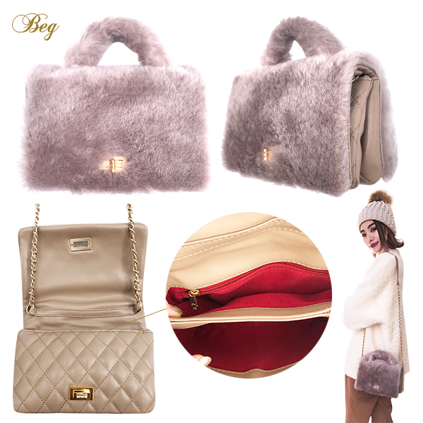 SALE【60%OFF】 Eco fur 3way handle bag(BEG/GRY/BLK)